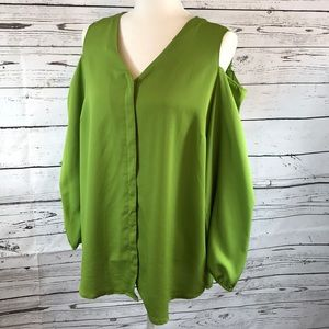 Chico's- Green cold shoulder blouse, size 2